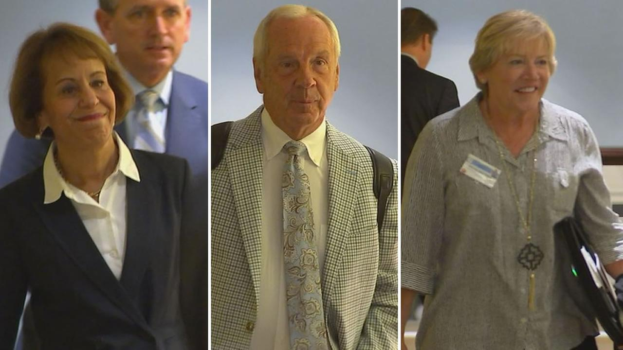 UNC Chancellor Carol Folt, Coach Roy Williams, and womens basketball coach Sylvia Hatchell arrive at the hearing.
