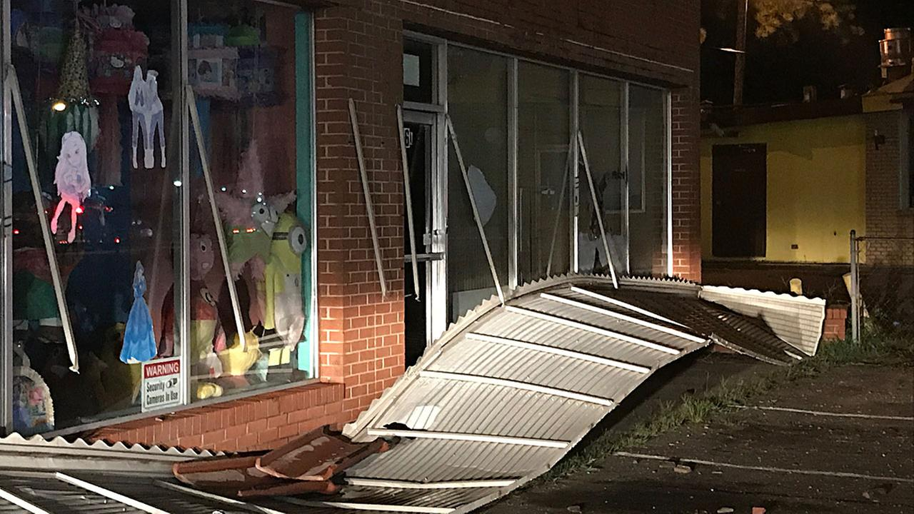 The storm knocked off the awning and some roof tiles at Dulceria La Pinata in Smithfield.