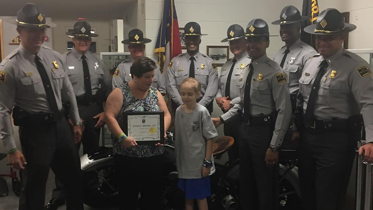 Howell Brown is inducted as an honorary trooper (image courtesy North Carolina Highway Patrol)
