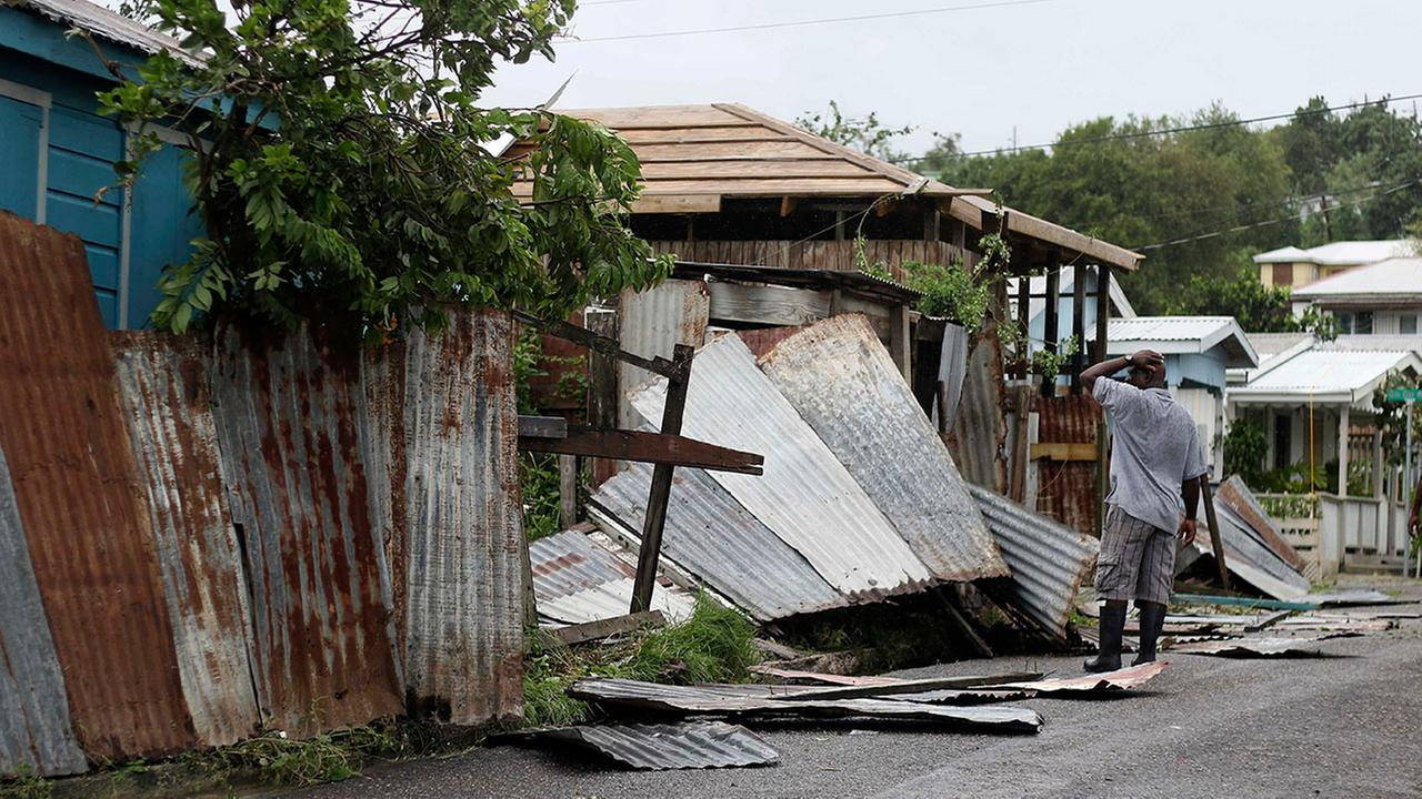 A man surveys the wreckage on his property after the passing of Hurricane Irma, in St. Johns, Antigua and Barbuda, Wednesday.Johnny Jno-Baptiste