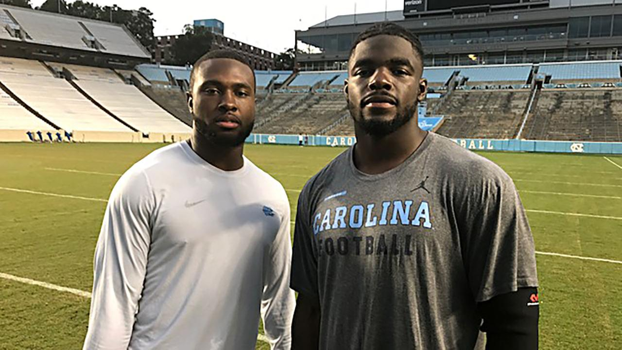 Donnie Miles, left, a safety for UNC, is from Miami. Linebacker Andre Smith is from Jacksonville, Fla.