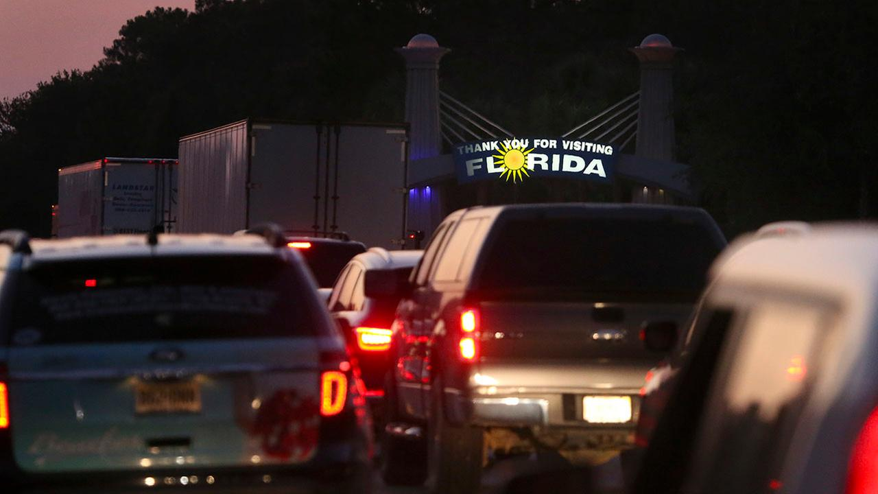 Traffic backs up on Interstate 75 near the Florida/Georgia state line as people flee Hurricane Irma on Friday in Jennings, Fla.
