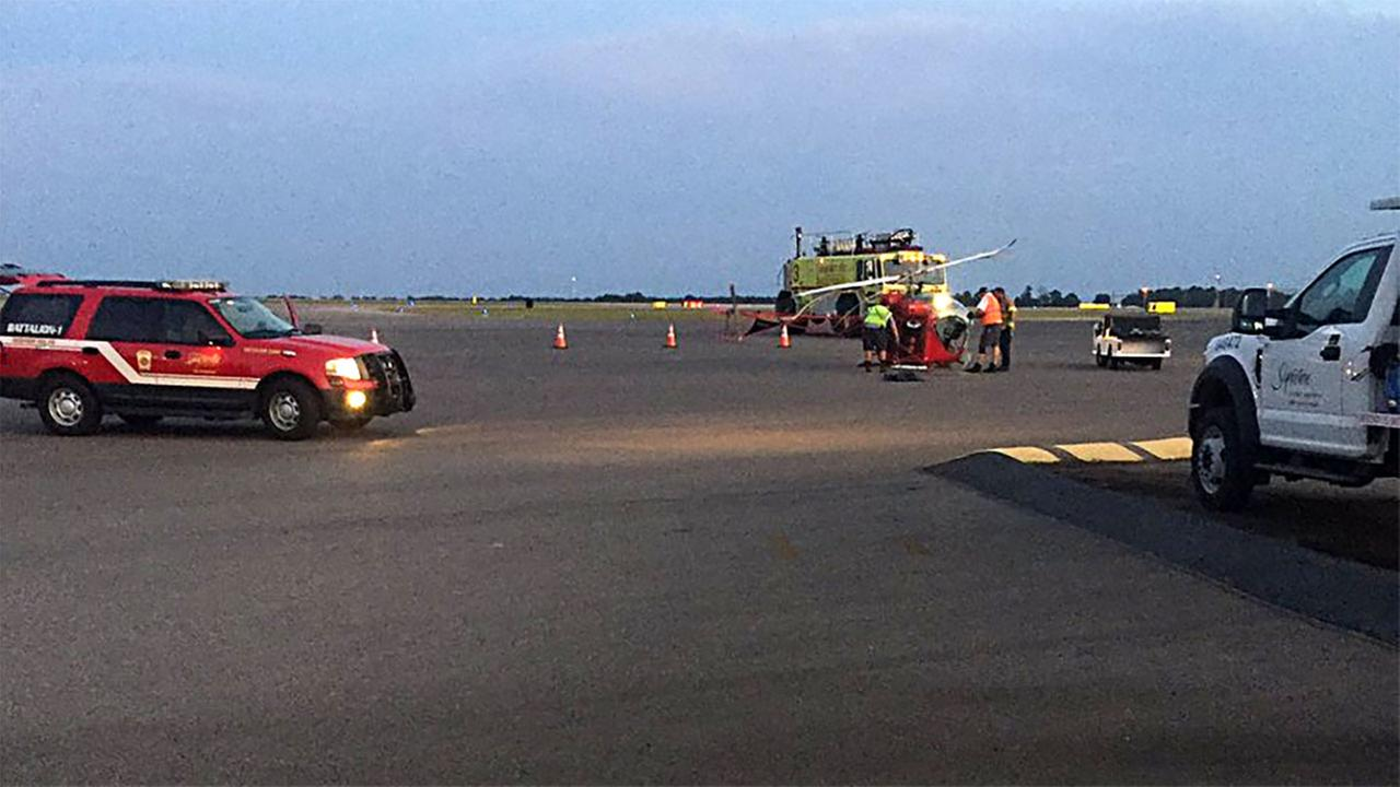 A helicopter pilot made an emergency hard landing in Fayetteville on Thursday night.