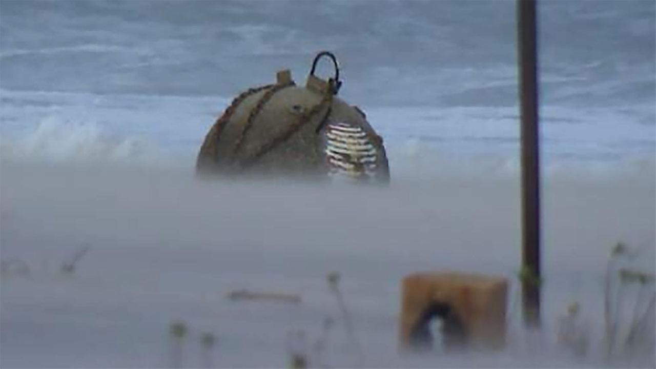 Potential unexploded ordnance found on beach.