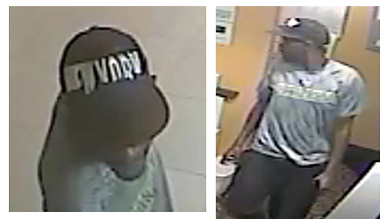 Surveillance footage showing an armed-robbery suspect Monday morning at the Holiday Inn Express in Hillsborough.