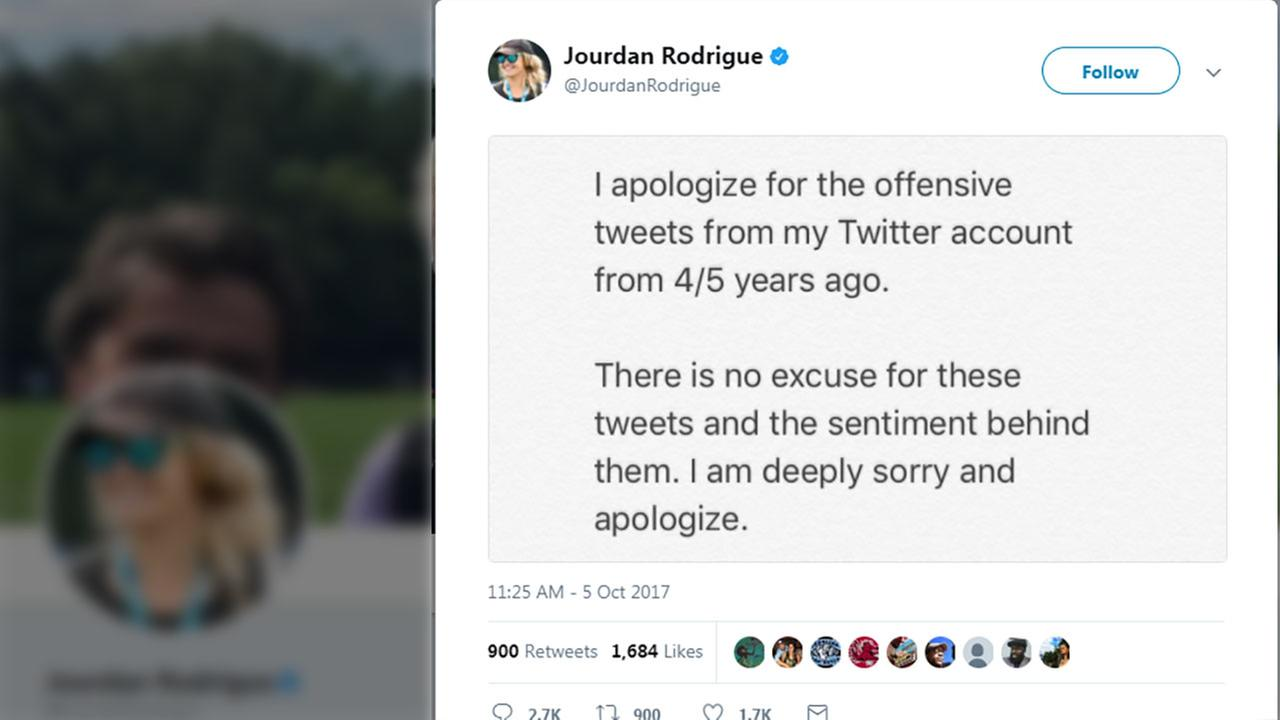Jourdan Rodrigue apologized after offensive tweets surfaced on her Twitter timeline.