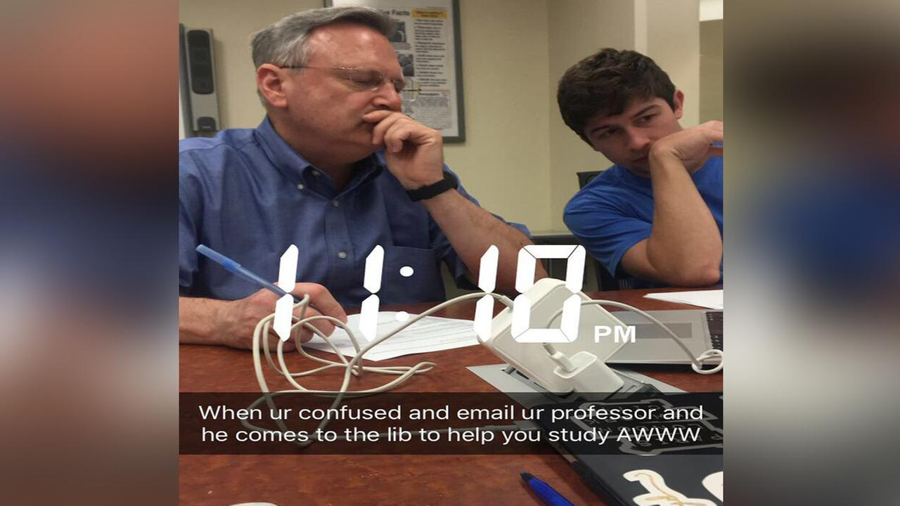 Twitter post of ECU Professor helping students during late night study session goes viral