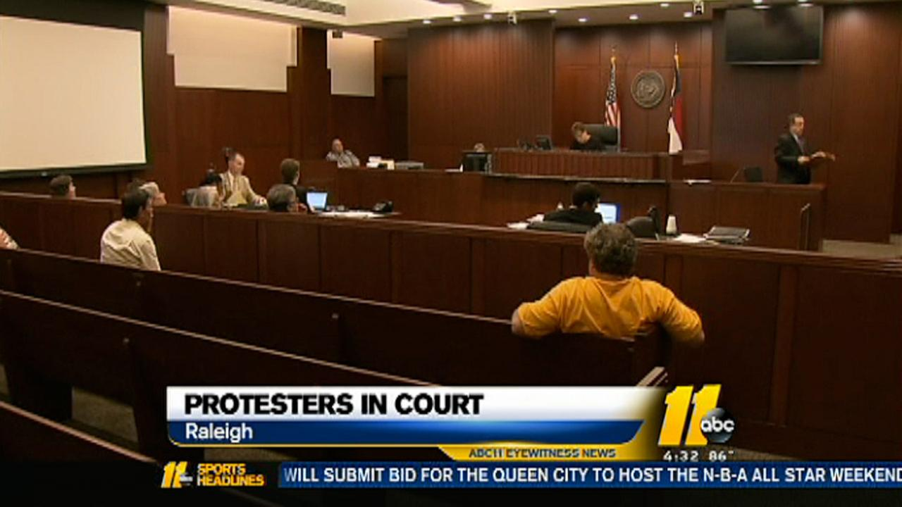 Five Moral Monday protesters in court for trial