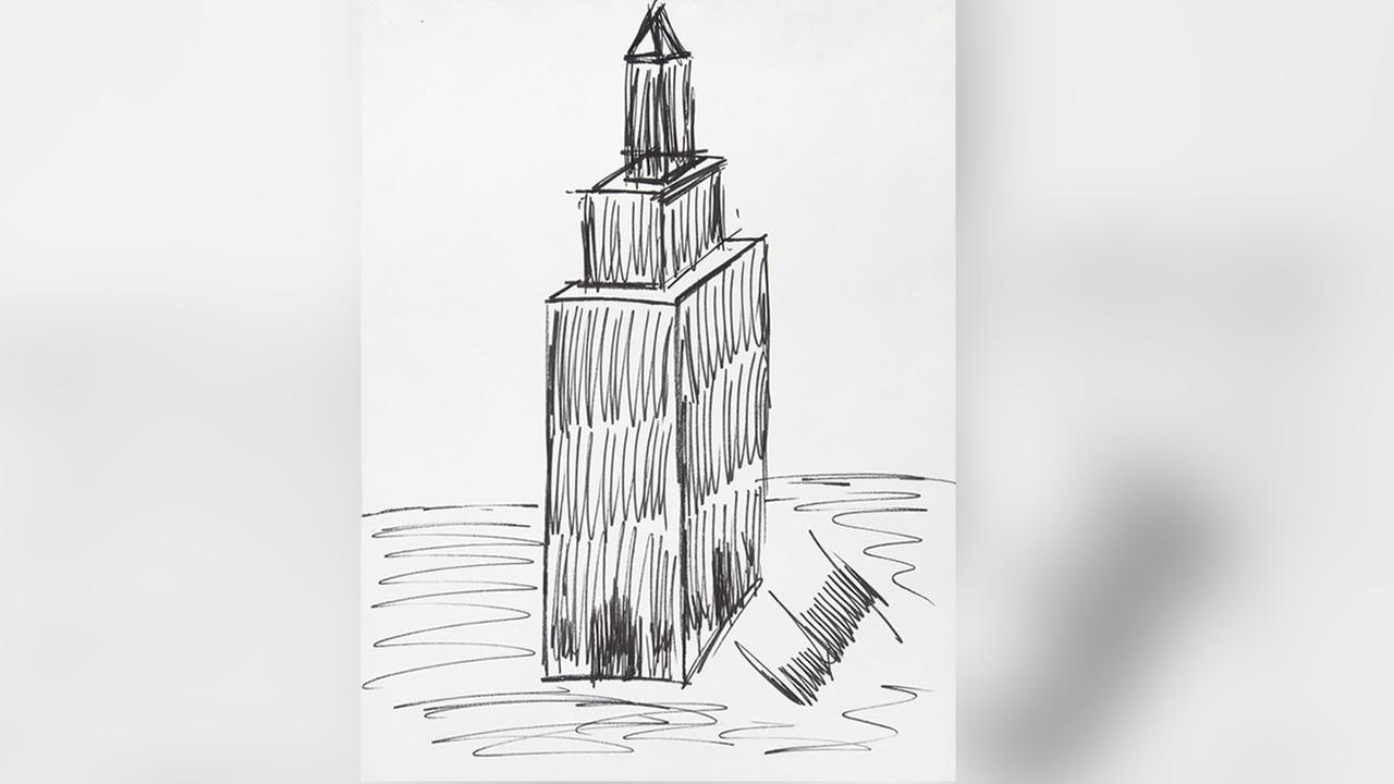 This image provided by Juliens Auctions shows a sketch of the Empire State Building drawn by President Donald Trump (Juliens Auctions via AP)