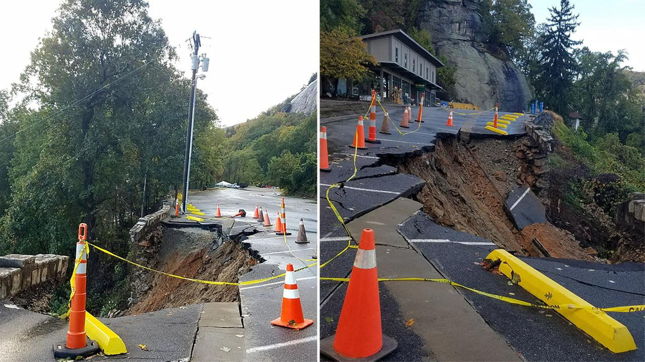 Part of a retaining wall collapsed at Chimney Rock State Park on Monday.
