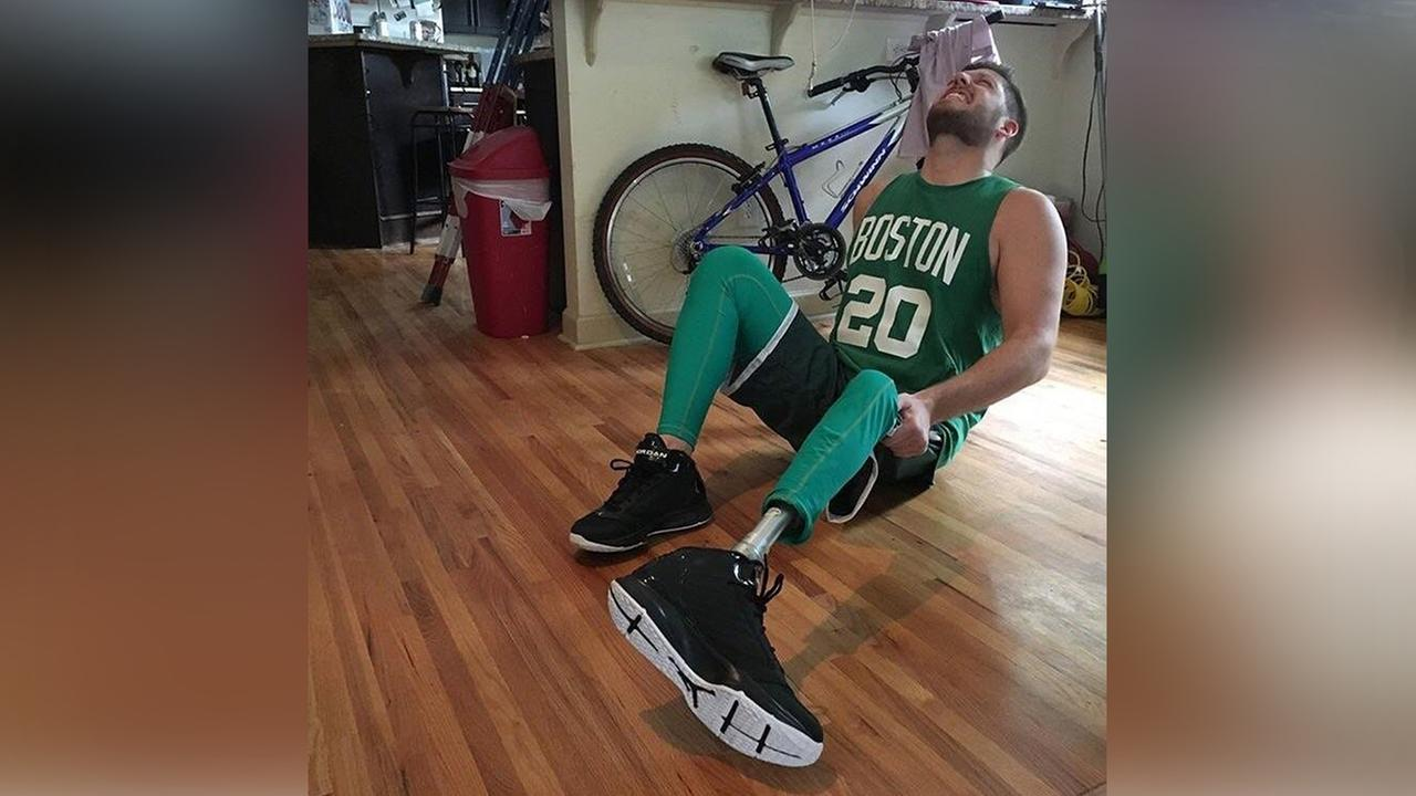 Justin Caskey posing for his Gordon Hayward-inspired Halloween costume