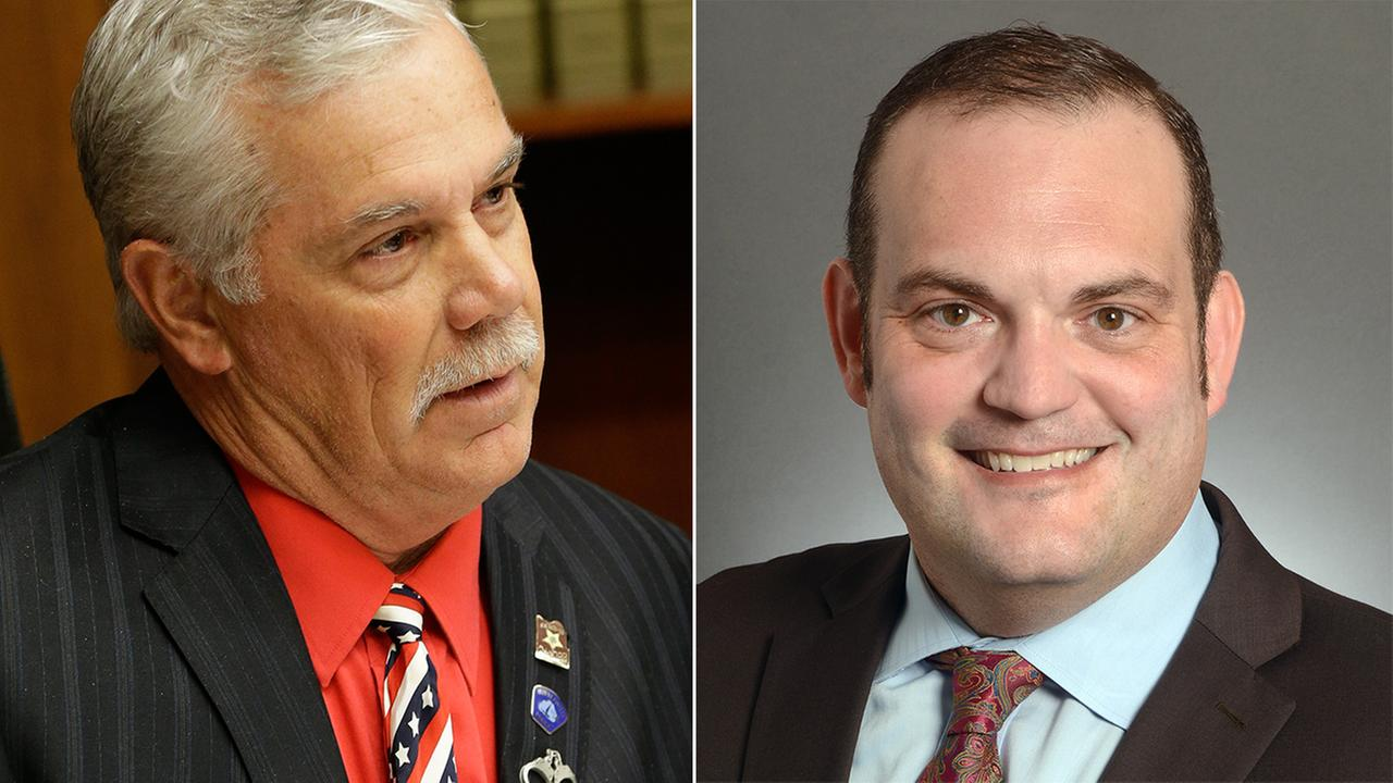 Republican Rep. Tony Cornish, left, and Democratic Sen. Dan Schoen are stepping down. Both are embroiled in sexual-misconduct allegations.