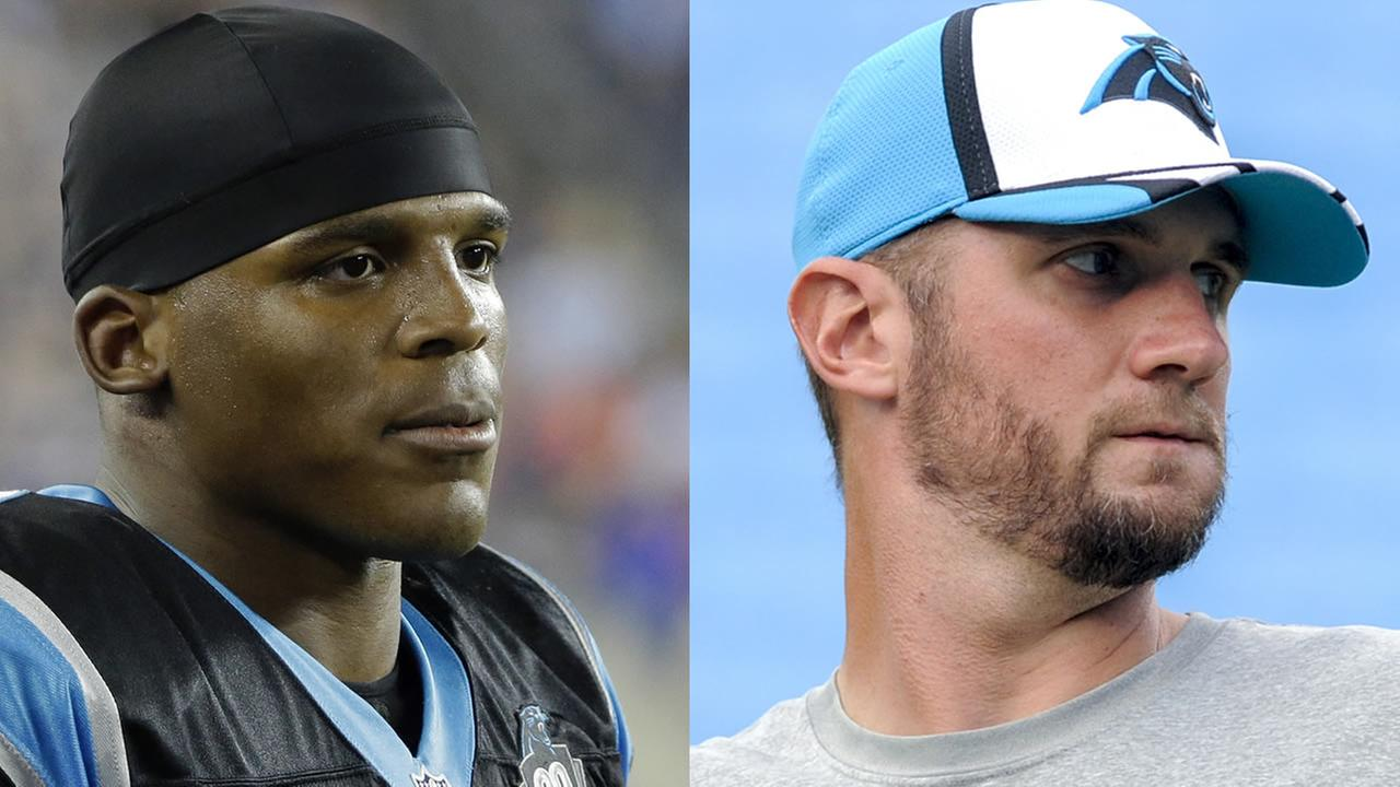 Carolina Panthers quarterbacks Cam Newton and Derek Anderson. (AP Photos/Stephan Savoia and Mike McCarn)