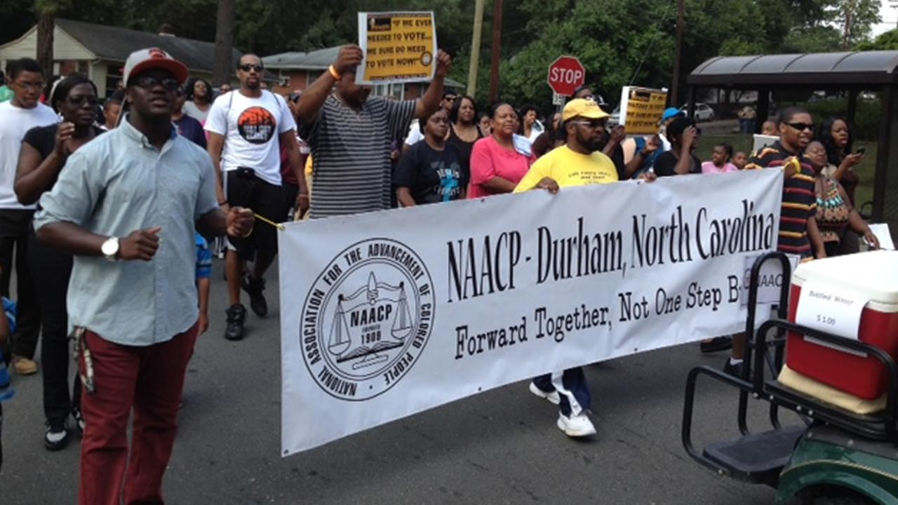 Marchers on the streets of Durham Saturday. (WTVD Photo/Tommy Harris)