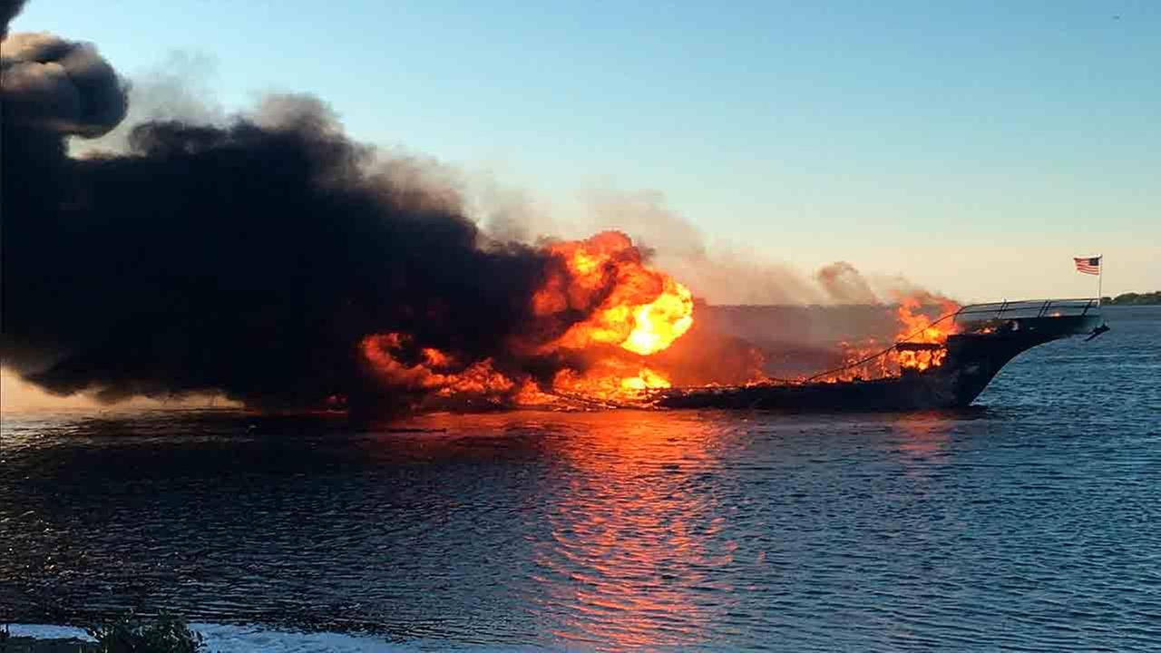 The boat ferrying patrons to a casino ship off the Florida Gulf Coast caught fire near shore Sunday afternoon