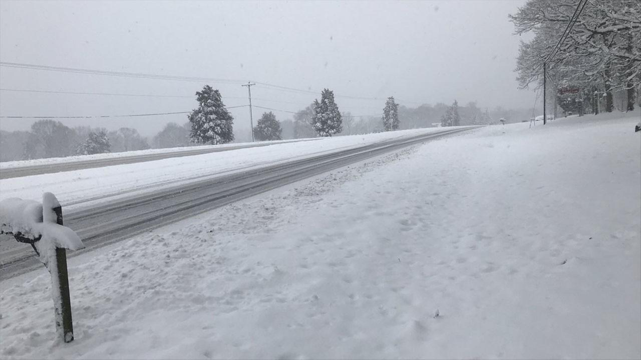 Roxboro Road in Durham. The road conditions have made it necessary for schools to miss days in many areas.
