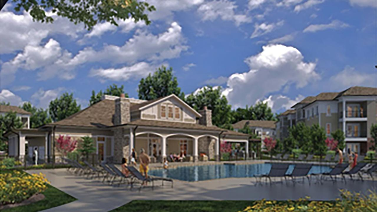 Crabtree Lakeside Apartments rendering.