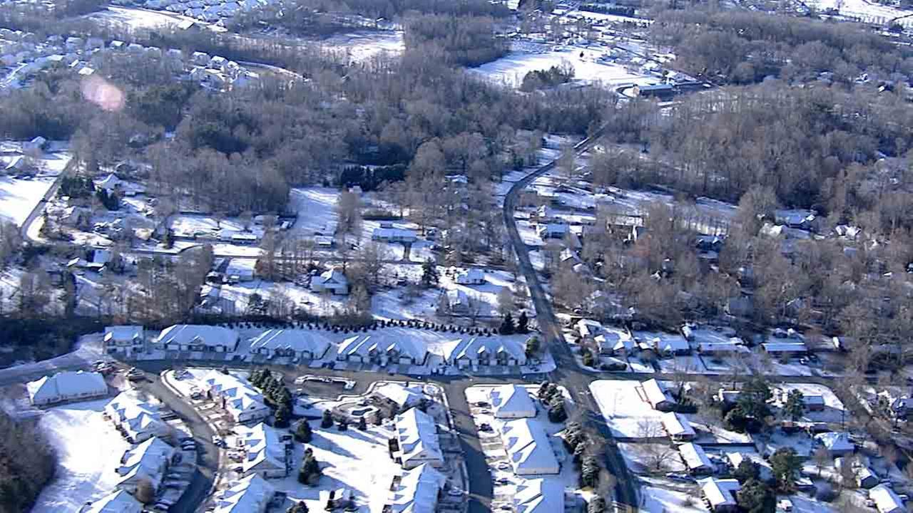 Chopper11 HD is over a snowy scene in Orange County