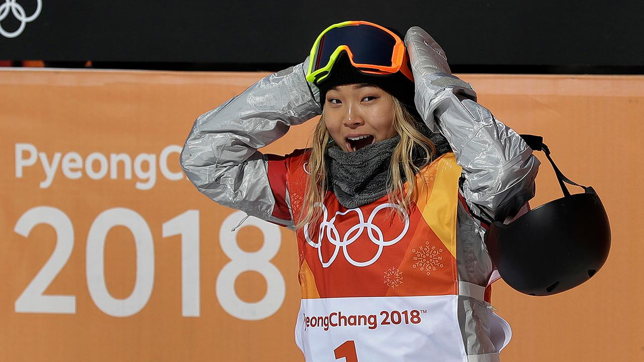Chloe Kim of the United States reacts to her score during the womens halfpipe finals.