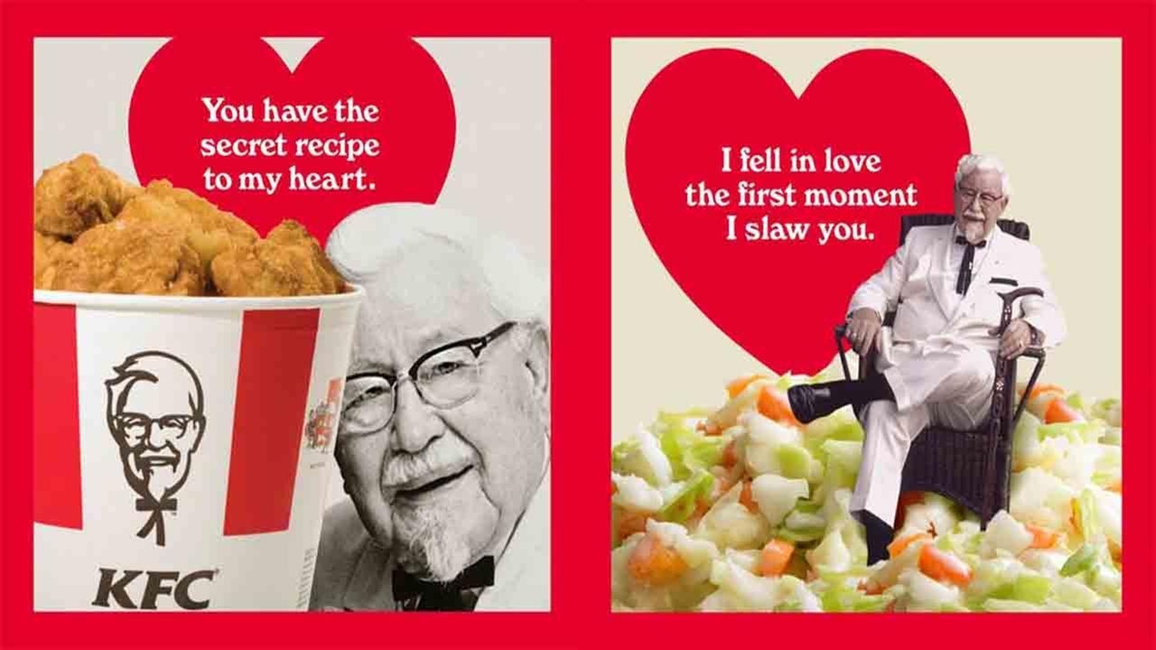 KFC offering scratch n sniff Valentines Day cards