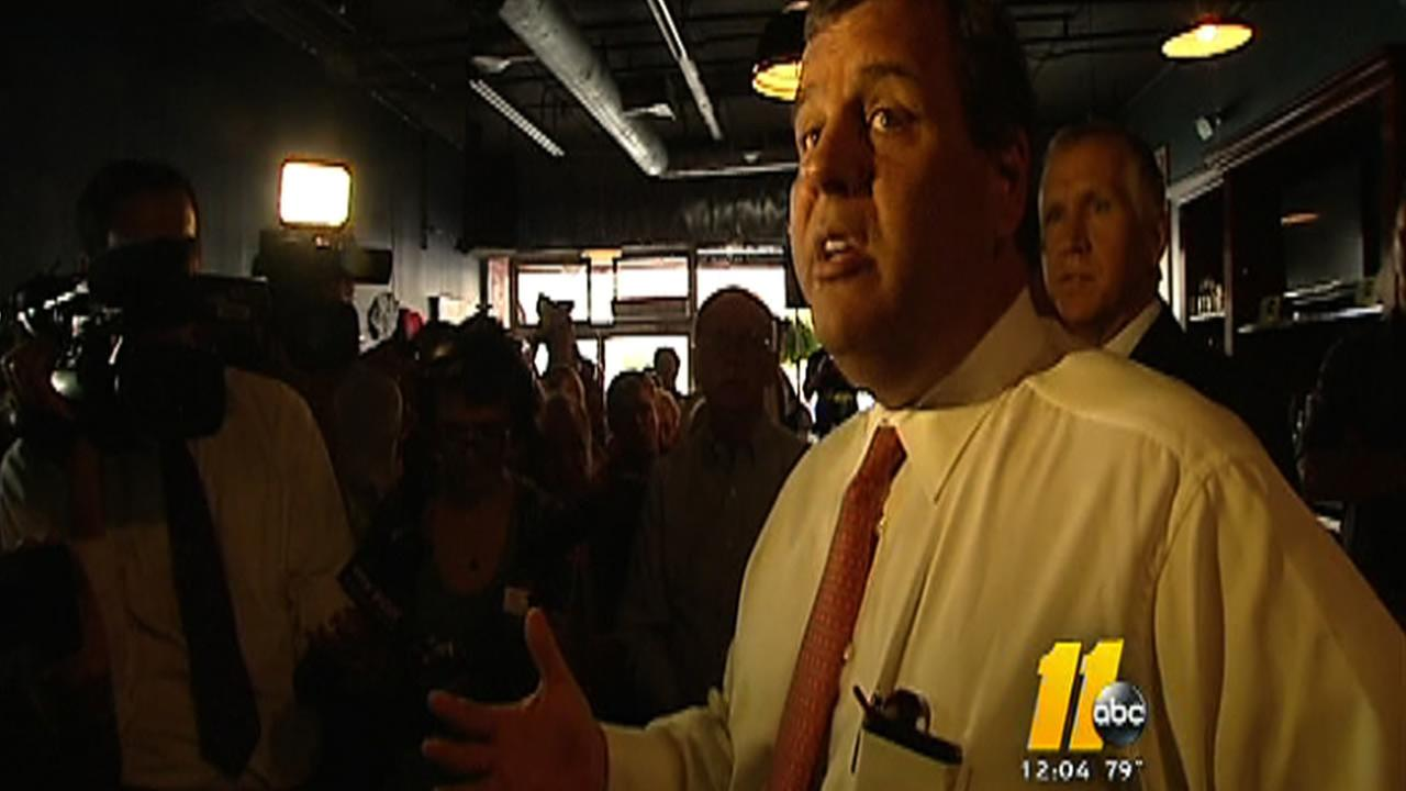 New Jersey Gov. Chris Christie campaigns in North Carolina for Thom Tillis.