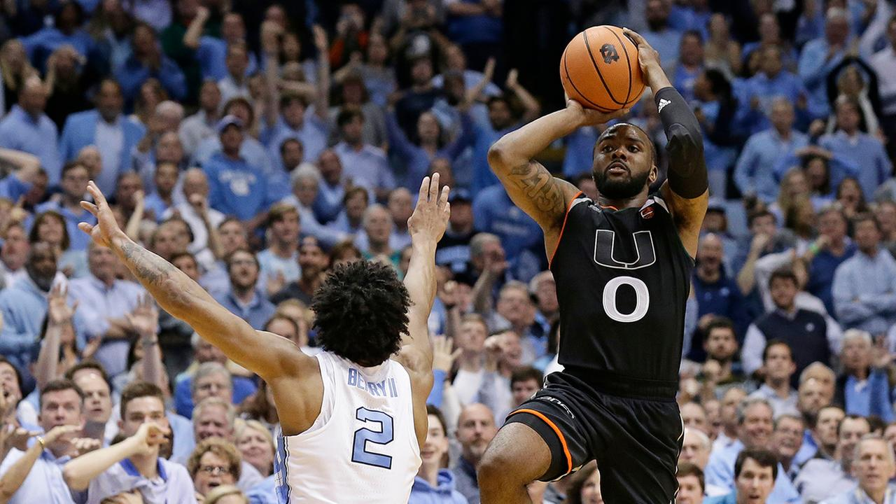 Miami's Newton sinks No. 9 UNC with last-second trey
