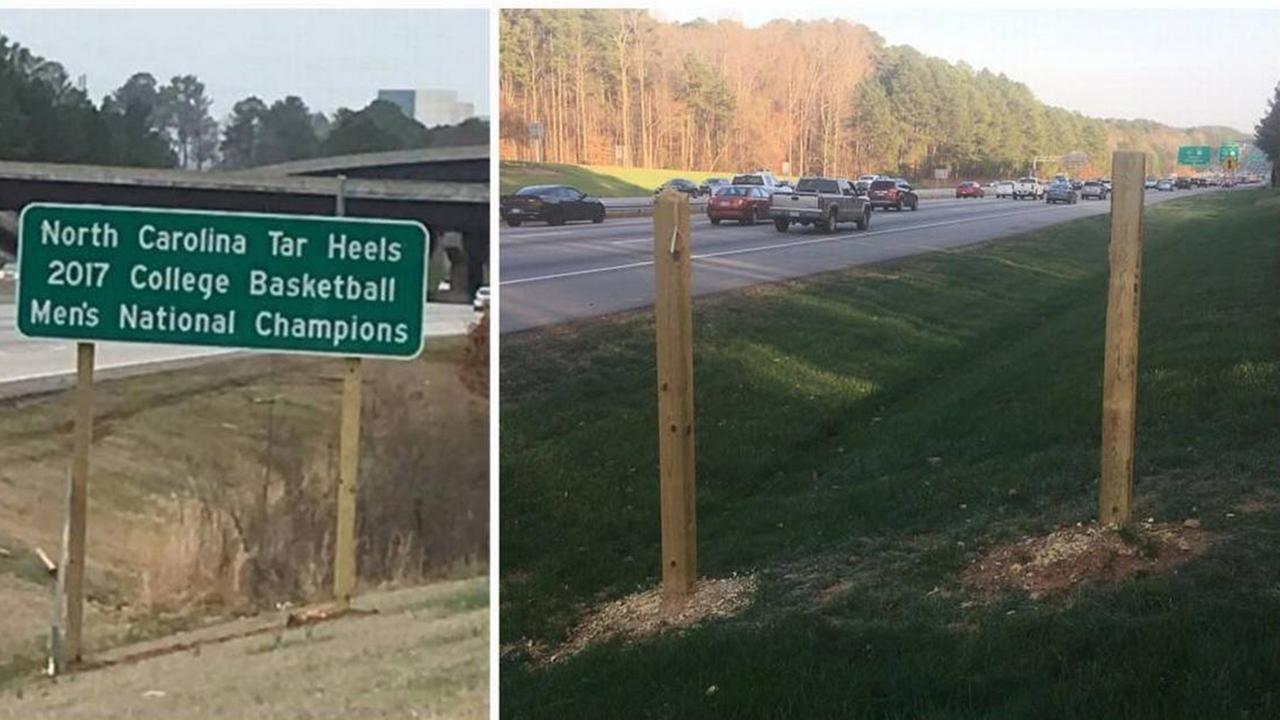 Update: Missing UNC national title sign found