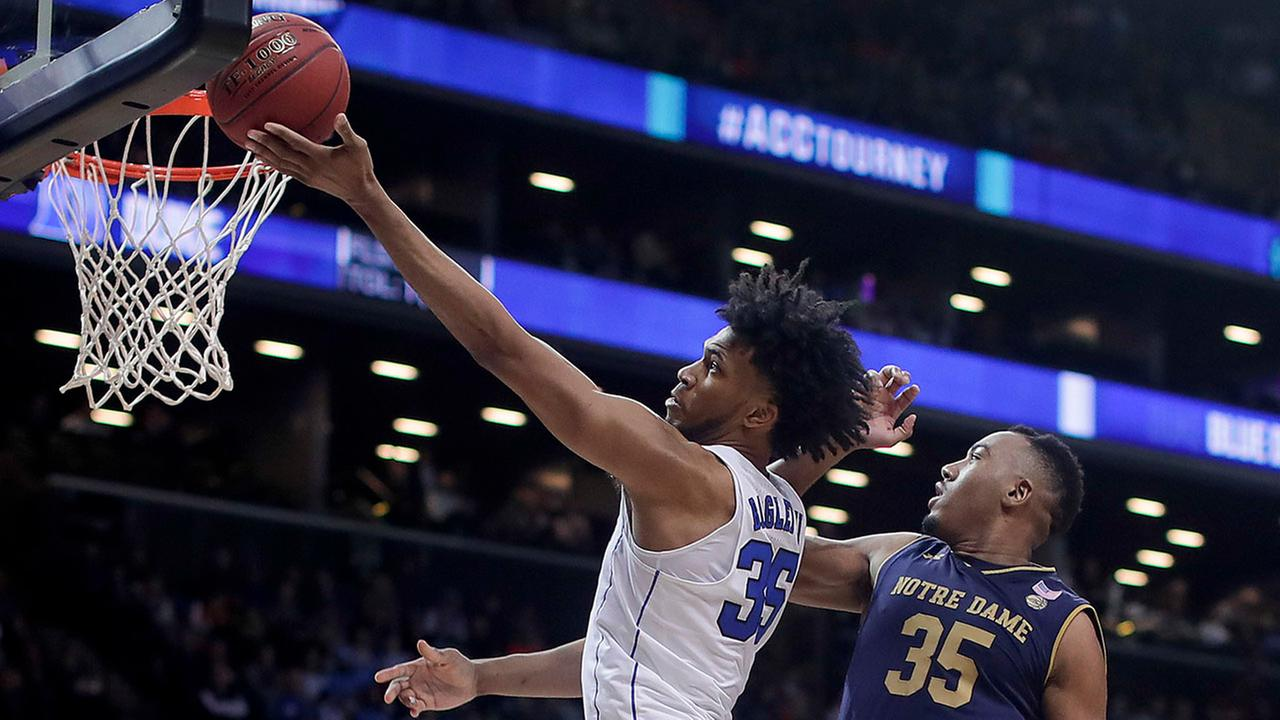 Marvin Bagley III was too much for Bonzie Colson and Notre Dame on Thursday at the ACC Tournament.