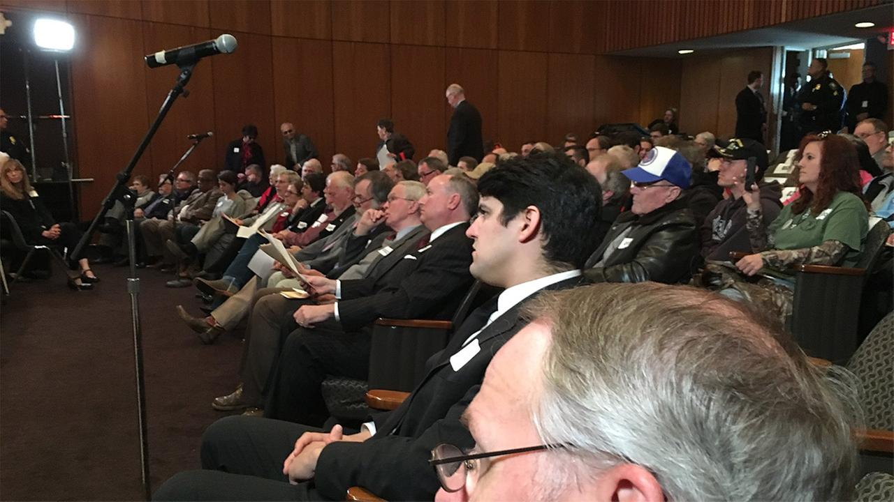 It was a packed house for the public hearing on the fate of the Confederate monuments.