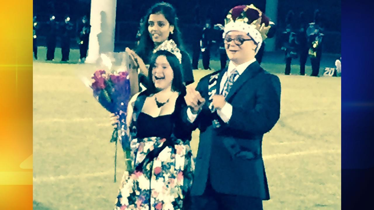 A pair of students with Down syndrome was named homecoming king and queen by their peers at Green Hope High School Friday night.