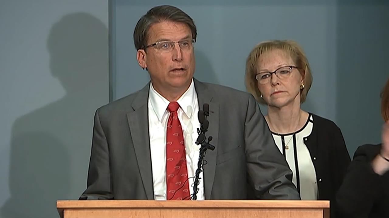 Governor Pat McCrory talks about Ebola preparations with reporters.