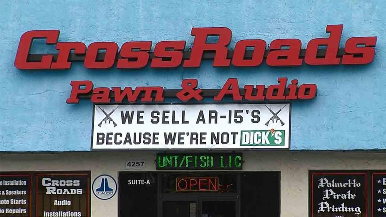 This sign is on display at CrossRoads Pawn and Audio