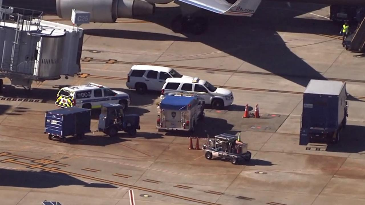Paramedics met an American Airlines flight from London Monday afternoon.