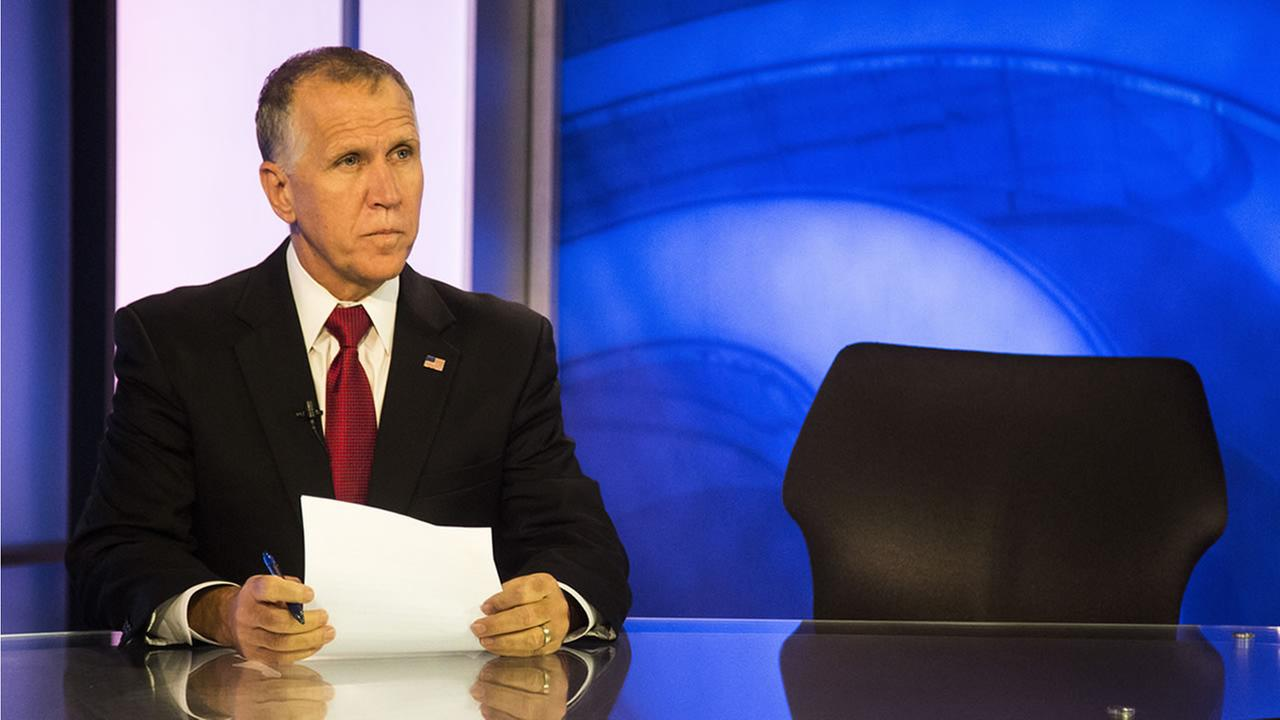State Speaker of the House, Thom Tillis, prepares to answer questions during a live televised roundtable Tuesday, Oct. 21, 2014 at Time Warner Cable News studios in Raleigh