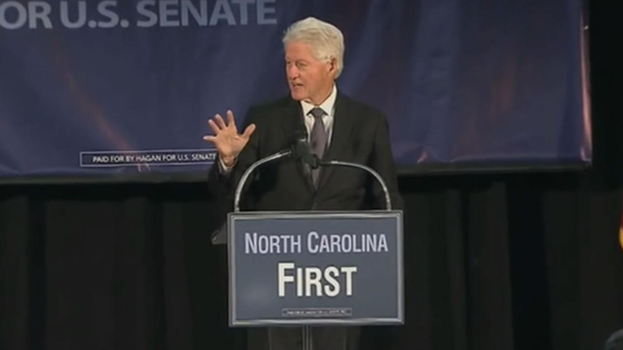 Former President Bill Clinton campaigns with Senator Kay Hagan.