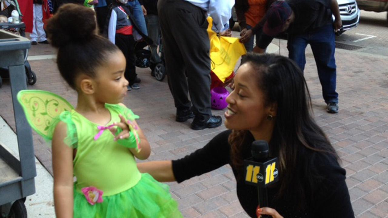 Trick-or-treaters on Hay Street in Fayetteville with Nicole Carr