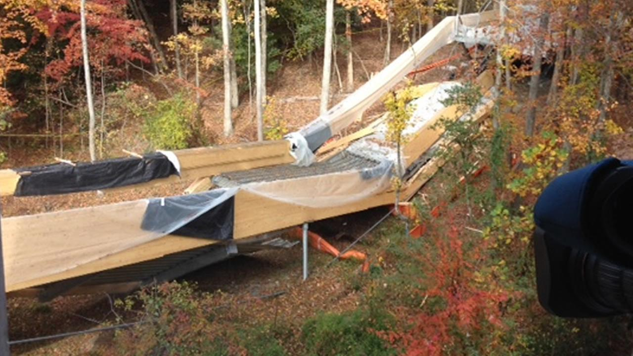 A second pedestrian bridge under construction at Wake Techs Northern Campus collapsed sometime overnight Friday