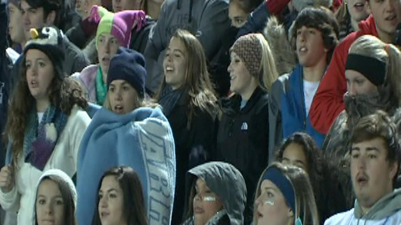 Cold weather high school football fans