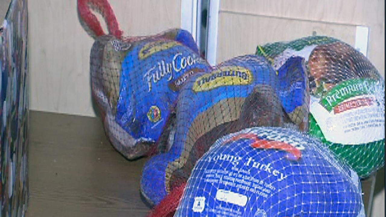 Frozen turkeys at Helping Hands Mission in Raleigh