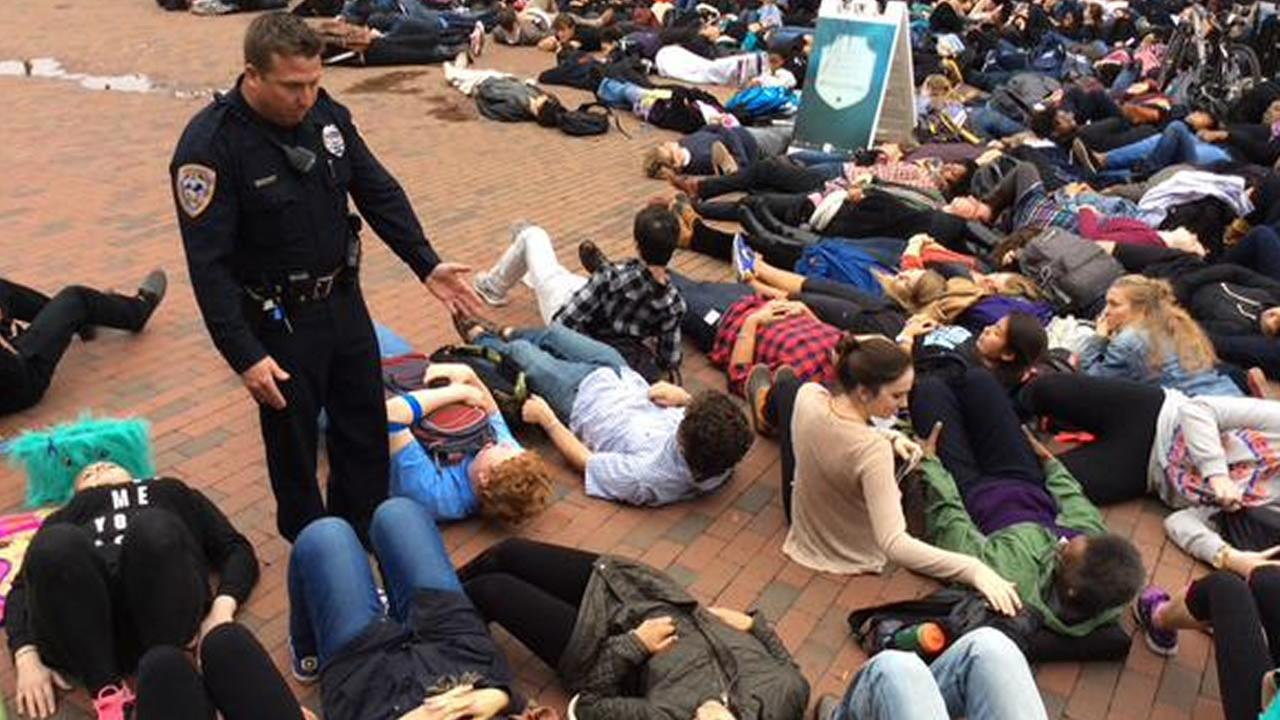 UNC students hold a die-in at the Pit for Michael Brown.