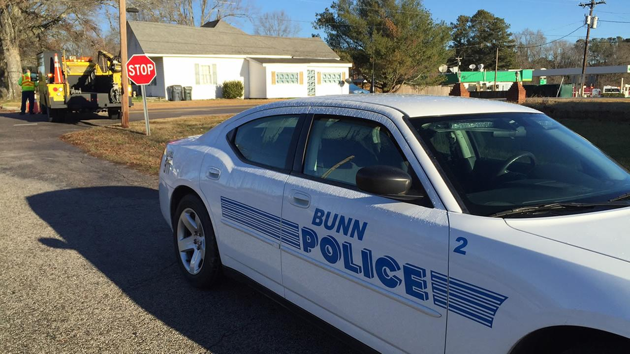 Police block the roads in Bunn after a gas leak