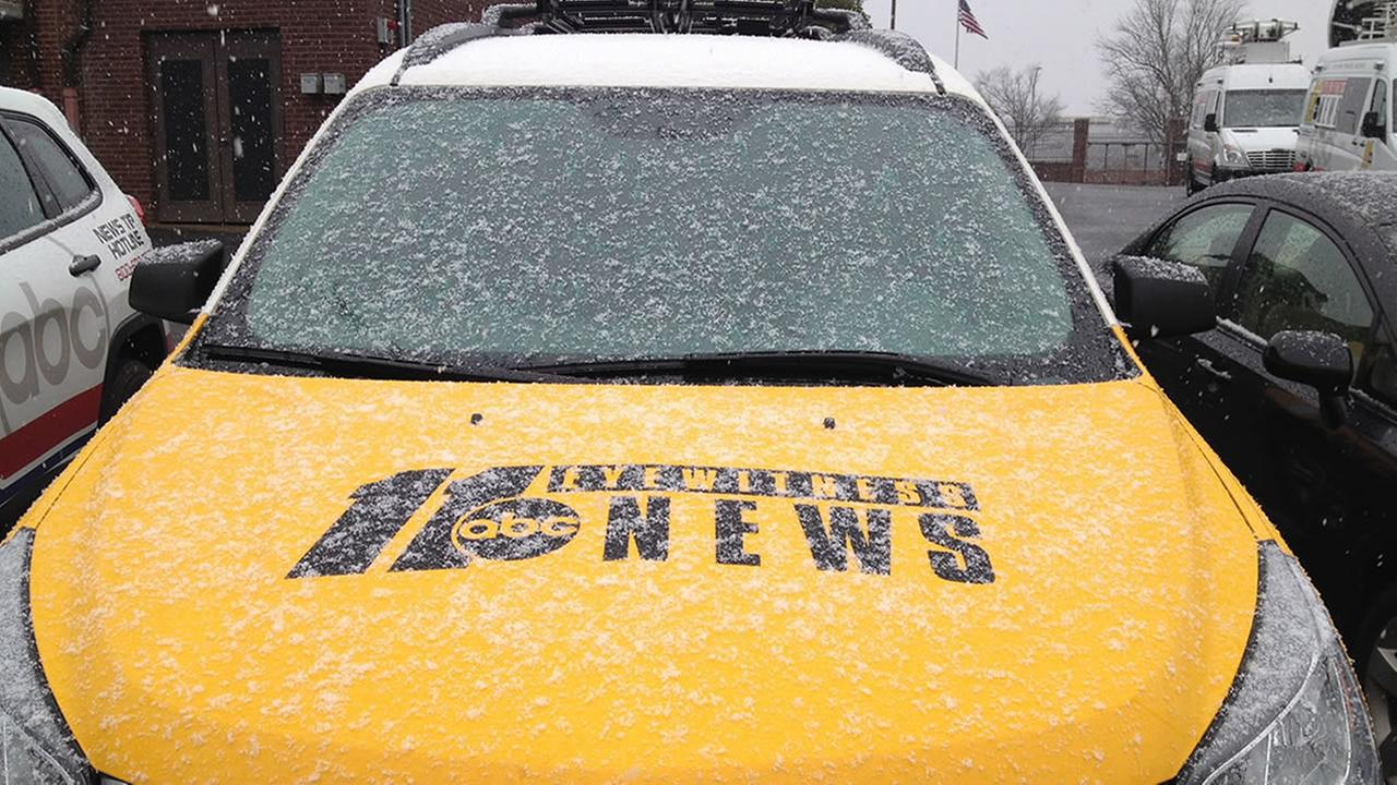 Snow in ABC11 parking lot