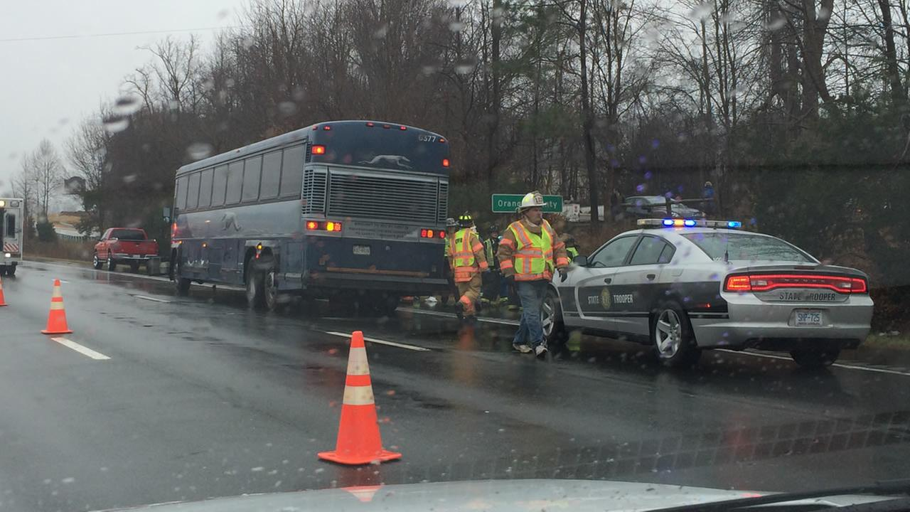 The front of the Greyhound bus was heavily damaged by the impact (image courtesy WGHP-TV)