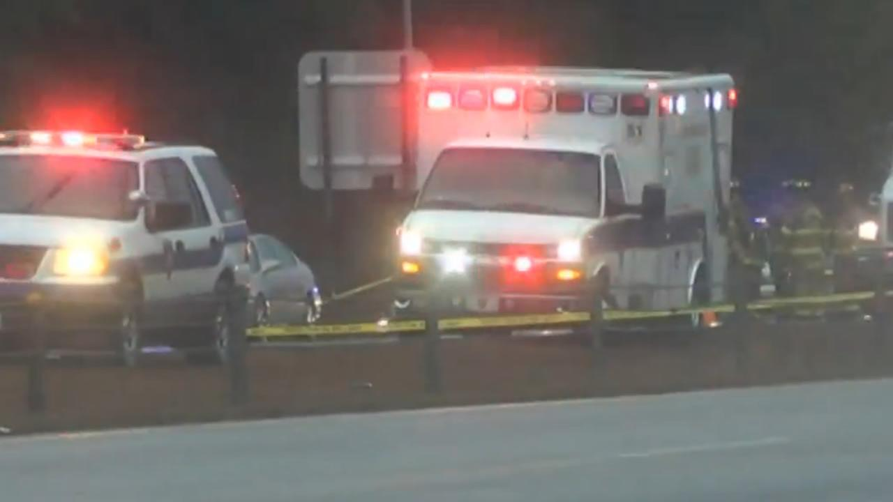 Emergency vehicles on the scene of an accident along I-40 near Benson.