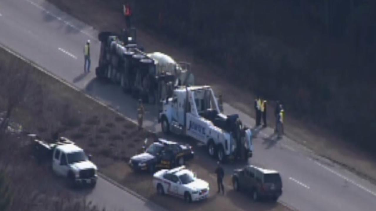 A cement truck flipped on its side in Wake Forest Thursday.