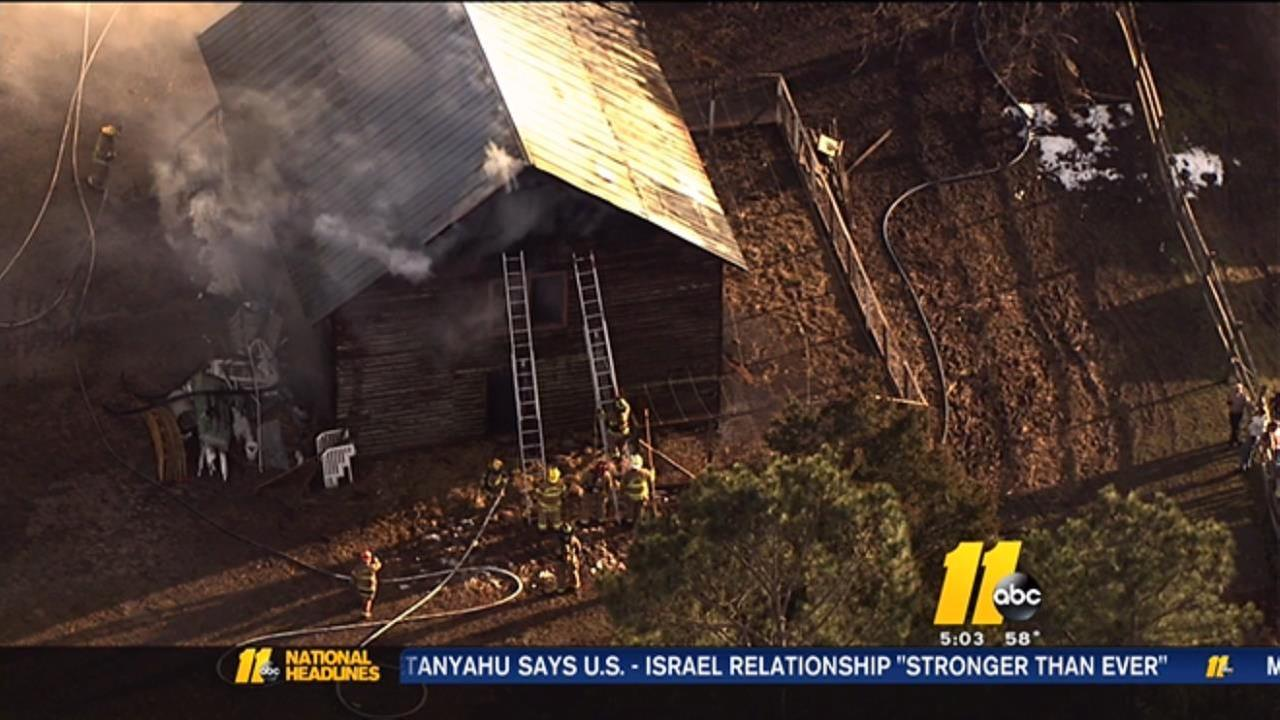 Barn fire near Wake Forest