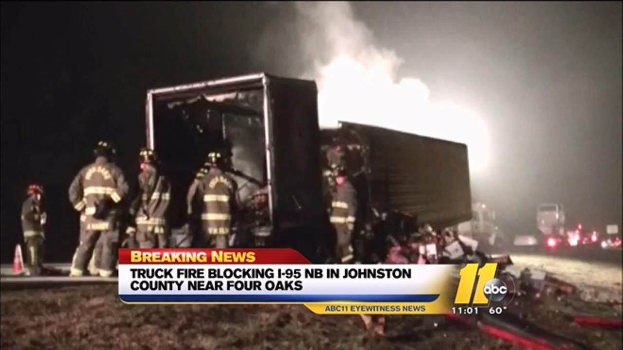 Tractor trailer fire on I-95 in Johnston County