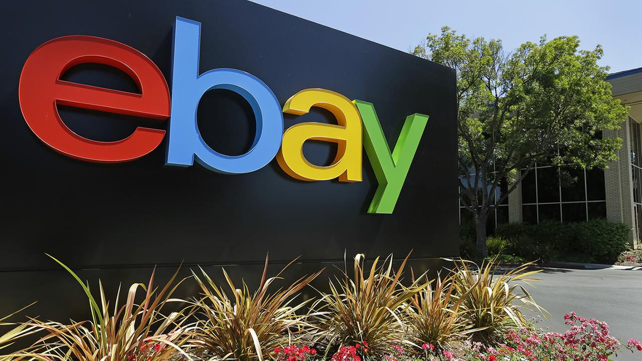 This Tuesday, July 16, 2013, file photo shows an eBay sign at eBay headquarters in San Jose, Calif. (AP Photo/Ben Margot, File)