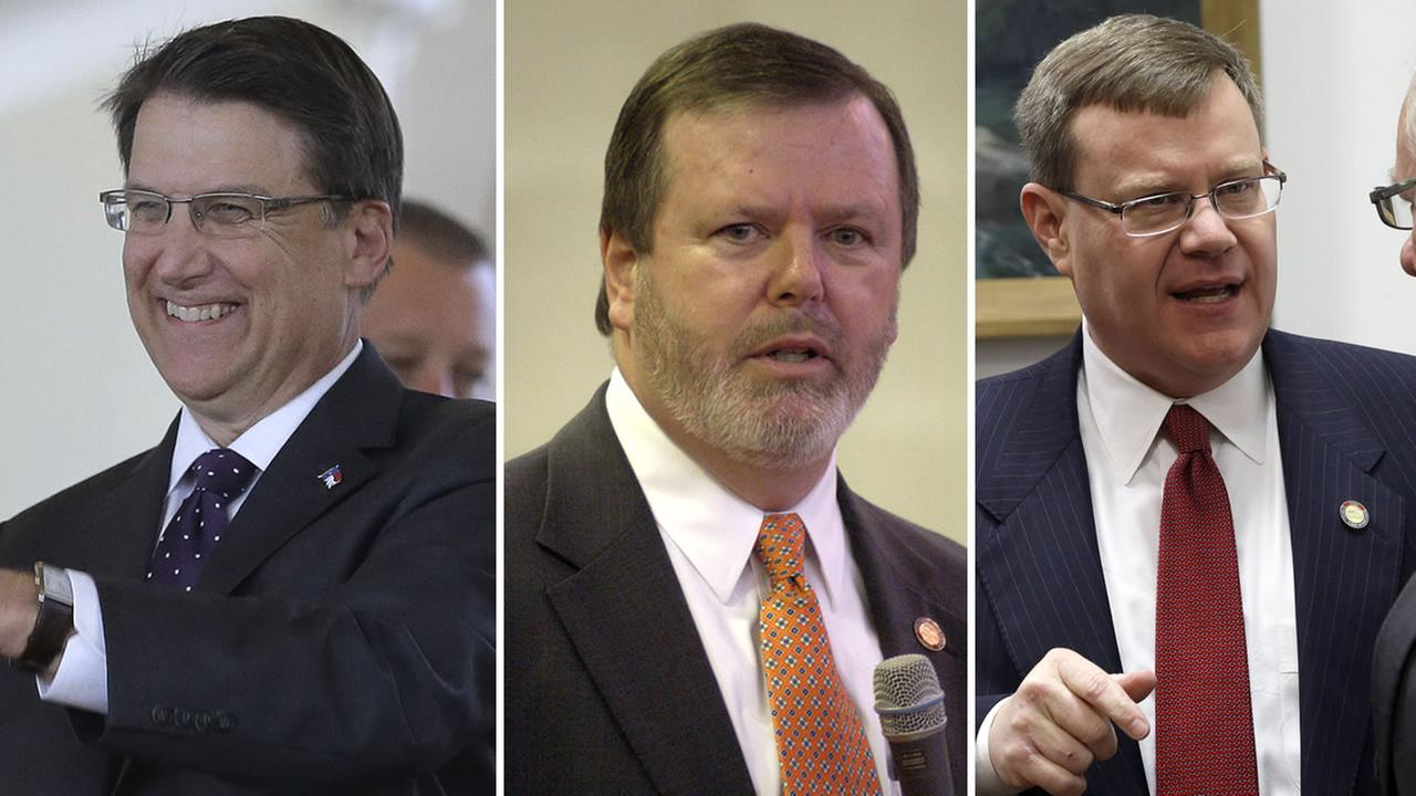 Governor Pat McCrory (AP Photo/Gerry Broome) Sen. Phil Berger (AP Photo/Karen Tam) Rep. Tim Moore (AP Photo/Gerry Broome)
