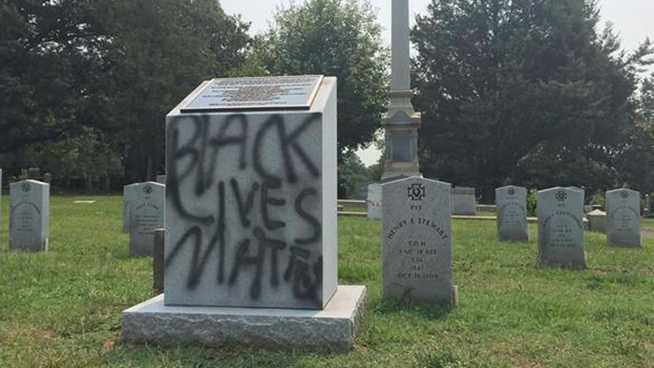 Someone spray-painted Black lives matter on the granite marker on West Chapel Hill Street near Duke University